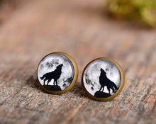 Load image into Gallery viewer, Wolf earrings, moon earrings, moon jewelry, antiqued brass earrings, stud earrings, glass earrings, antique bronze / silver plated