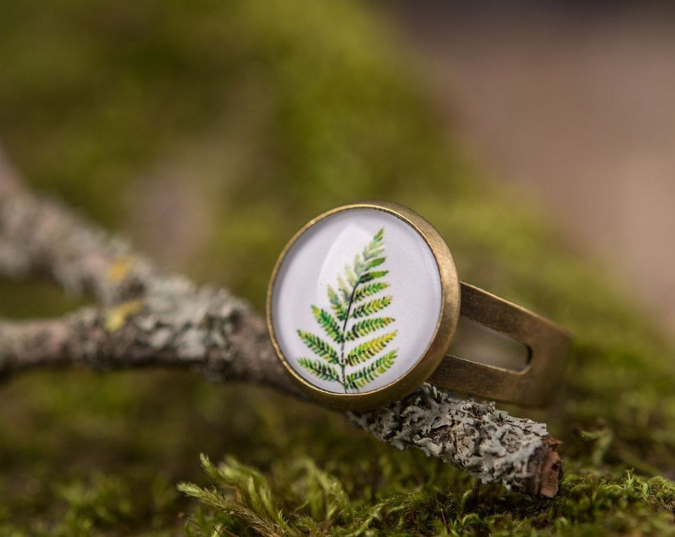 Fern ring, adjustable ring, statement ring, gift for women, birthday gift for her, mother gift, sister gift, daughter gift, mom gift