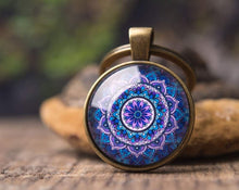 Load image into Gallery viewer, Mandala keychain, gift for women, girlfriend gift, gift for her, gift for sister, gift for mom, birthday gift for her, yoga accessories