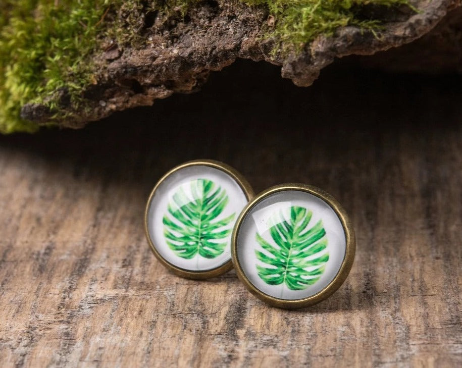 Monstera earrings, leaf earrings, stud earrings, post earrings, leaf jewelry, monstera jewelry, nature earrings, gift women, gift for her