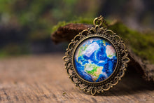 Load image into Gallery viewer, Planet Earth necklace, Earth pendant, gift for women, sister gift, gift for mom, daughter gift, birthday gift for her, best friend gift