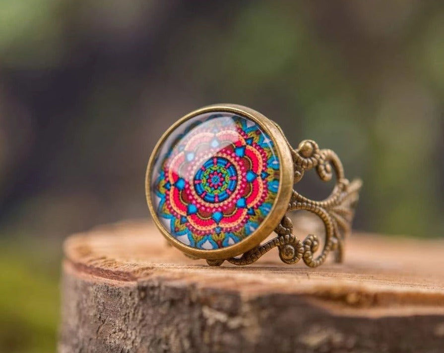 Mandala ring, adjustable ring, statement ring, mandala jewelry, yoga ring, yoga jewelry, gift for her, sister gift, friend gift, mom gift