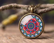 Load image into Gallery viewer, Mandala necklace, gift for women, gift for mom, birthday gift, mandala jewelry, yoga necklace, yoga jewelry, yoga gift, autumn jewelry