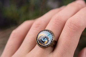 Astronomical steampunk ring, adjustable ring, statement ring, antiqued brass ring, glass ring, antique bronze / silver plated ring base