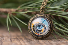 Load image into Gallery viewer, Tiny astronomical steampunk necklace, Prague clock necklace, brass pendant, glass pendant, brass necklace, steampunk necklace