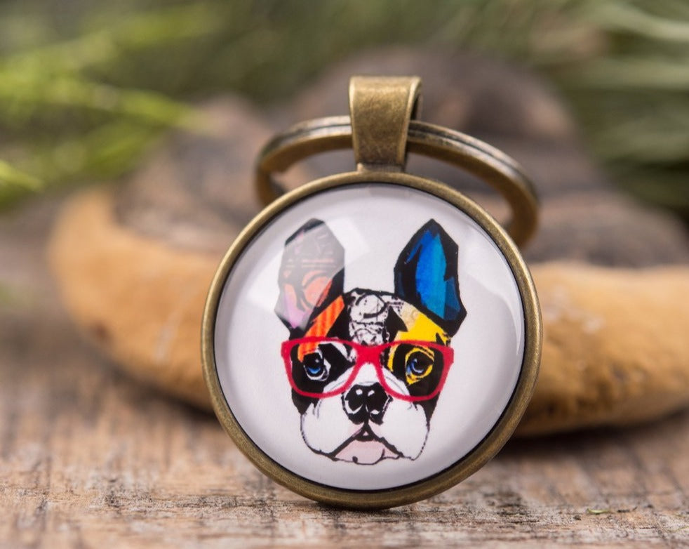 French bulldog key chain, dog keychain, girlfriend gift, gift for women, gift for her, gift for sister, gift for mom, best friend gift