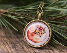 Load image into Gallery viewer, Autumn necklace, boho necklace, gift for women, birthday gift for her, fox necklace, nature necklace, boho jewelry, fox jewelry, forest