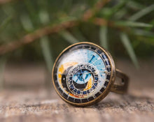 Load image into Gallery viewer, Astronomical steampunk ring, adjustable ring, statement ring, antiqued brass ring, glass ring, antique bronze / silver plated ring base