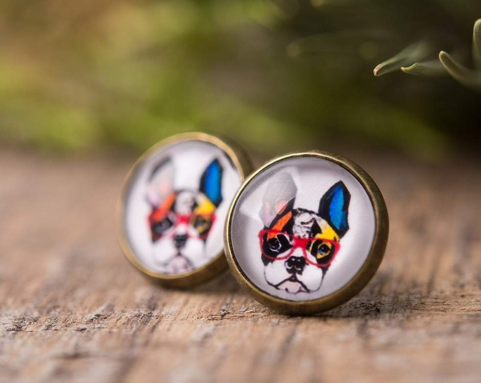 French bulldog earrings, gift for women, birthday gift for her, sister gift, daughter gift, best friend gift, stud earrings, dog earrings