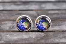 Load image into Gallery viewer, Planet Earth earrings, map earrings, brass earrings, stud earrings, post earrings, glass stud earrings, antique bronze / silver plated
