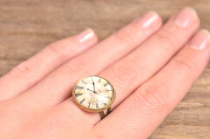 Vintage clock ring, adjustable ring, statement ring, antiqued brass ring, glass ring, antique bronze / silver plated ring, jewelry gift