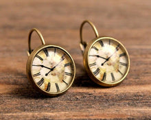 Load image into Gallery viewer, Vintage clock earrings, dangle earrings, gift for women, birthday gift for her, gift women, sister gift, daughter gift, gift for mom, brass