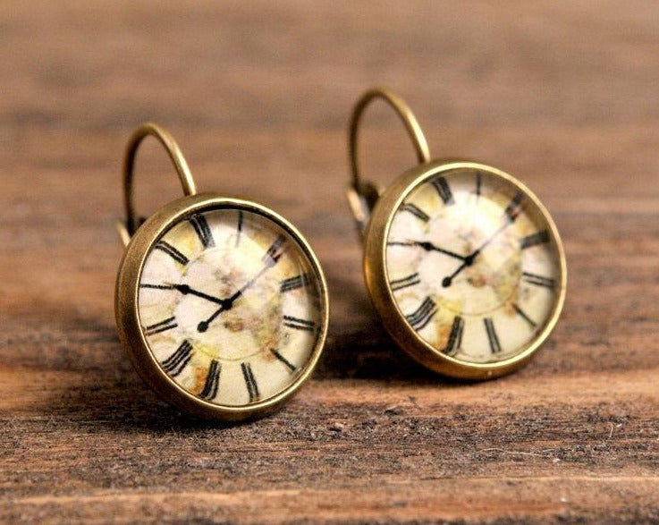 Vintage clock earrings, dangle earrings, gift for women, birthday gift for her, gift women, sister gift, daughter gift, gift for mom, brass