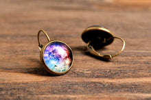 Load image into Gallery viewer, Galaxy earrings, space earrings, dangle earrings, antique brass earrings, nebula earrings, antique bronze / silver plated