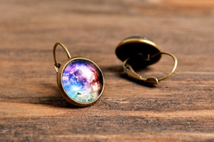 Galaxy earrings, space earrings, dangle earrings, antique brass earrings, nebula earrings, antique bronze / silver plated