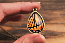 Load image into Gallery viewer, Monarch butterfly wing necklace, autumn jewelry, autumn necklace, orange necklace, tear drop necklace, monarch butterfly necklace