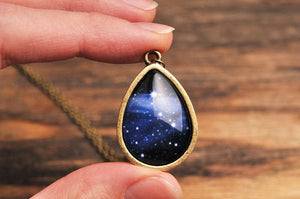 Galaxy necklace, milky way necklace, tear drop necklace, tear drop pendant, glass necklace, night sky necklace