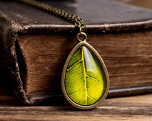 Load image into Gallery viewer, Green leaf necklace, tear drop necklace, antique brass necklace, glass dome necklace, green necklace, tree leaf necklace, nature necklace