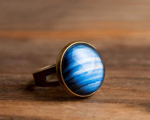 Planet Neptune ring, adjustable ring, statement ring, antique brass ring, glass ring, antique bronze / silver plated ring base, galaxy ring