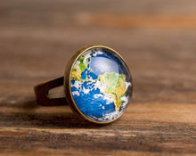 Load image into Gallery viewer, Planet Earth ring, adjustable ring, statement ring, brass ring, map ring, glass ring, antique bronze / silver plated ring base, some magic