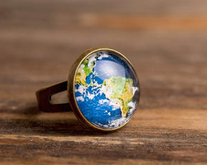 Planet Earth ring, adjustable ring, statement ring, brass ring, map ring, glass ring, antique bronze / silver plated ring base, some magic