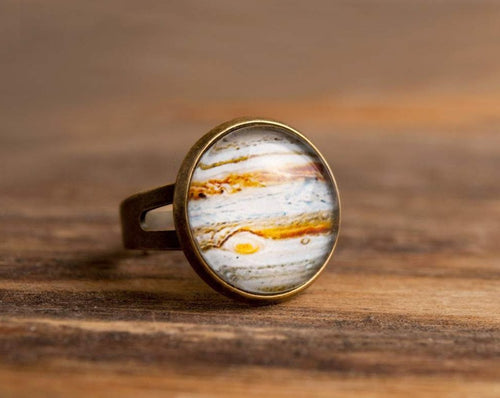 Planet Jupiter ring, adjustable ring, statement ring, antiqued brass ring, glass ring, antique bronze / silver plated ring, jewelry gift
