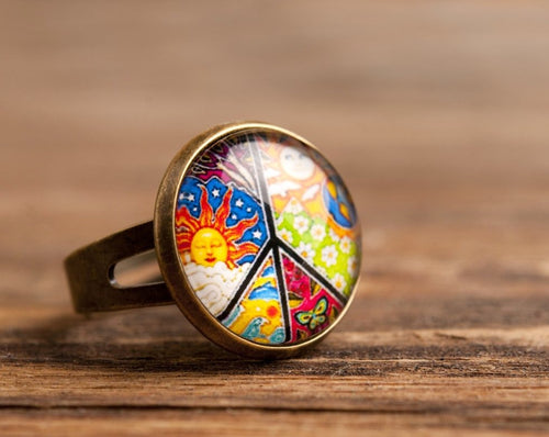 Peace ring, adjustable ring, colorful ring, statement ring, brass ring, glass dome ring, antique bronze / silver plated ring, jewelry gift