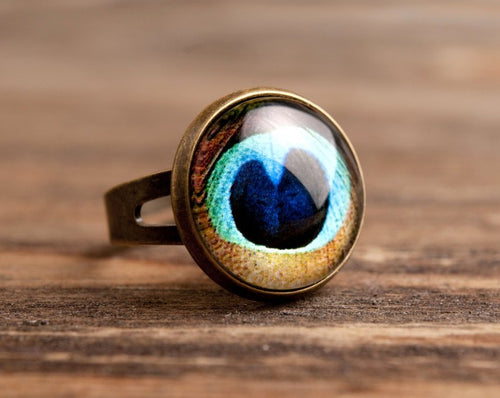 Peacock ring, adjustable ring, round statement ring, antique brass ring, glass dome ring, antique bronze / silver plated ring, gift idea