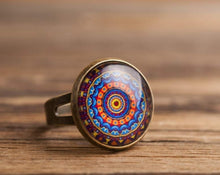 Load image into Gallery viewer, Mandala ring, adjustable ring, statement ring, antique brass ring, glass dome ring, antique bronze ring, colorful ornament ring, some magic