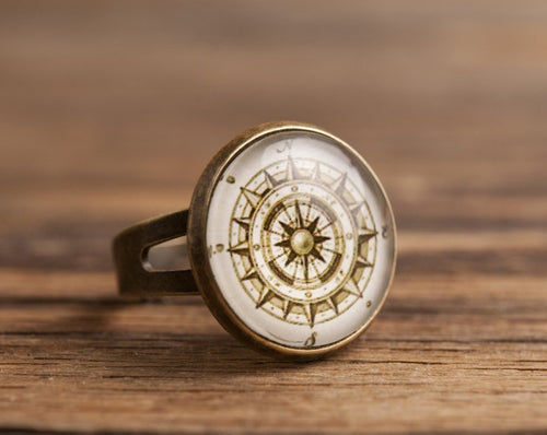 Vintage compass ring, adjustable ring, statement ring, antique brass ring, glass ring, antique bronze / silver plated ring, jewelry gift