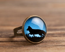 Load image into Gallery viewer, Fox in the night ring, statement ring, antique brass ring, adjustable ring, glass dome ring, fox ring, antique bronze / silver plated ring
