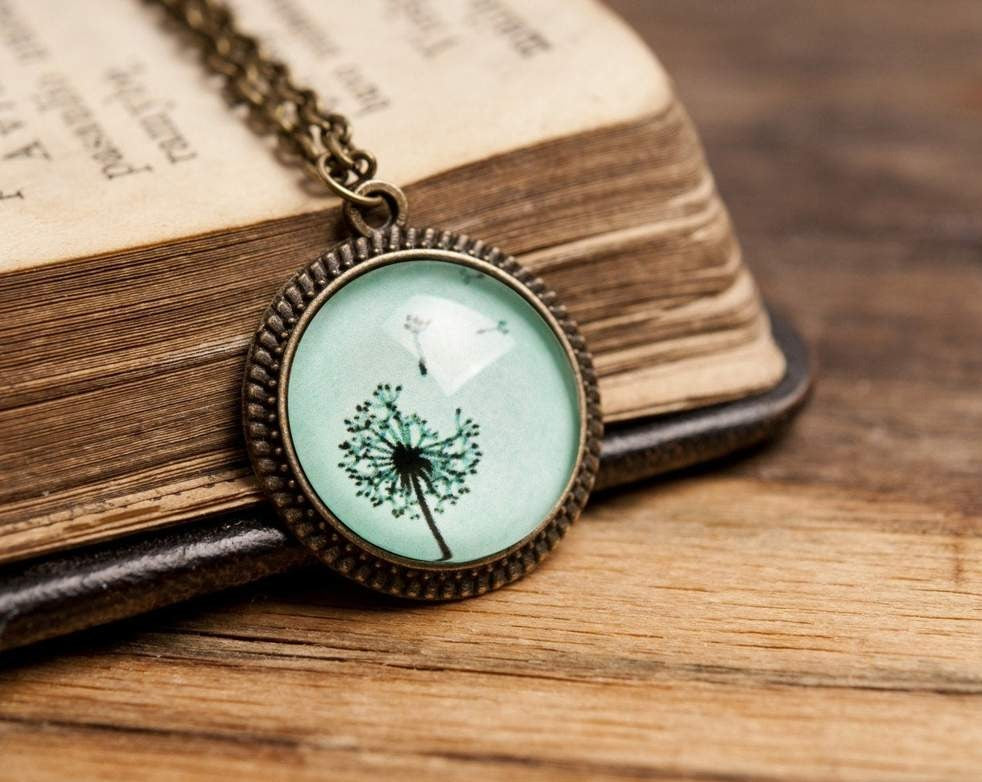 Tiny dandelion pendant, dandelion necklace, nature necklace, flower necklace, antique brass pendant, glass pendant, antique brass necklace