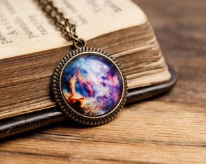 Tiny galaxy necklace, space necklace, universe necklace, space pendant, antique brass pendant, glass dome pendant, antique brass necklace