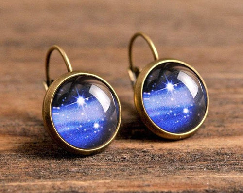 Milky way earrings, dangle earrings, antique brass earrings, galaxy earrings, celestial earrings, glass dome earrings, universe earrings