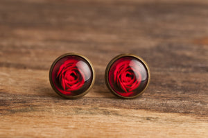 Red rose earrings, red flower earrings, antiqued brass earrings, rose post earrings, rose stud earrings, antique bronze / silver plated