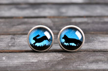 Load image into Gallery viewer, Fox and rabbit earrings, gift for women, birthday gift for her, sister gift, daughter gift, best friend gift, forest earrings, stud earrings