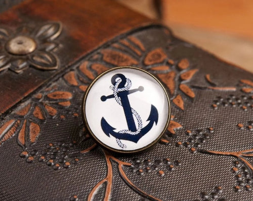 Lapel pin - Anchor lapel pin, anchor pin, anchor brooch, glass dome lapel pin, antique brass lapel pin, anchor lapel pin, nautical lapel pin