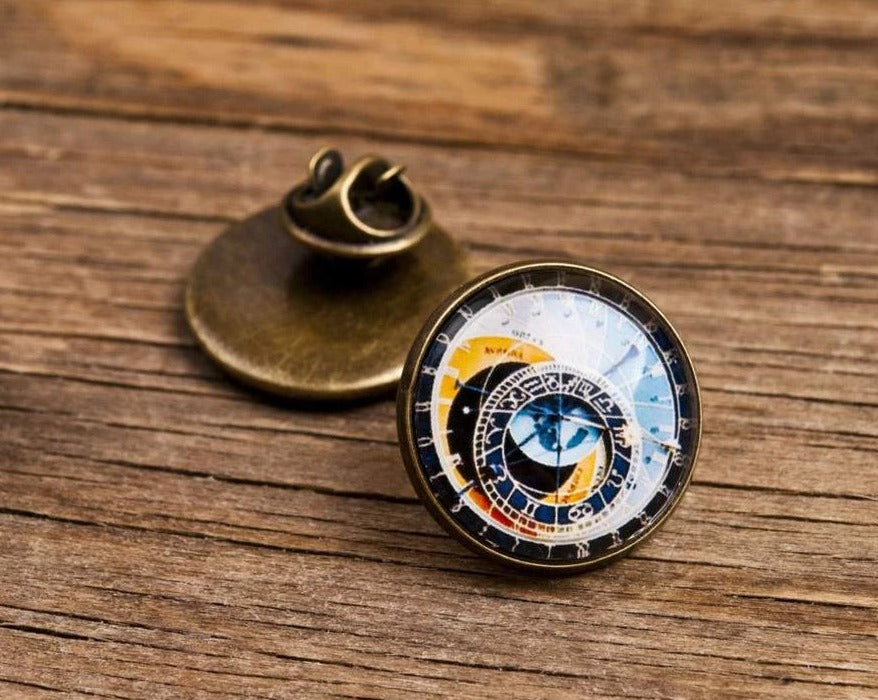 Astronomical Clock Lapel Pin, gift for men, boyfriend gift, father gift, birthday gift for him, Christmas gift, men birthday gift, mens gift