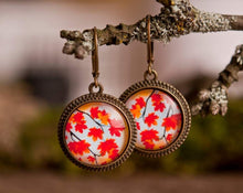 Load image into Gallery viewer, Autumn earrings, fall earrings, autumn leaf earrings, orange earrings, gift for women, girlfriend gift, gift for daughter, gift for sister