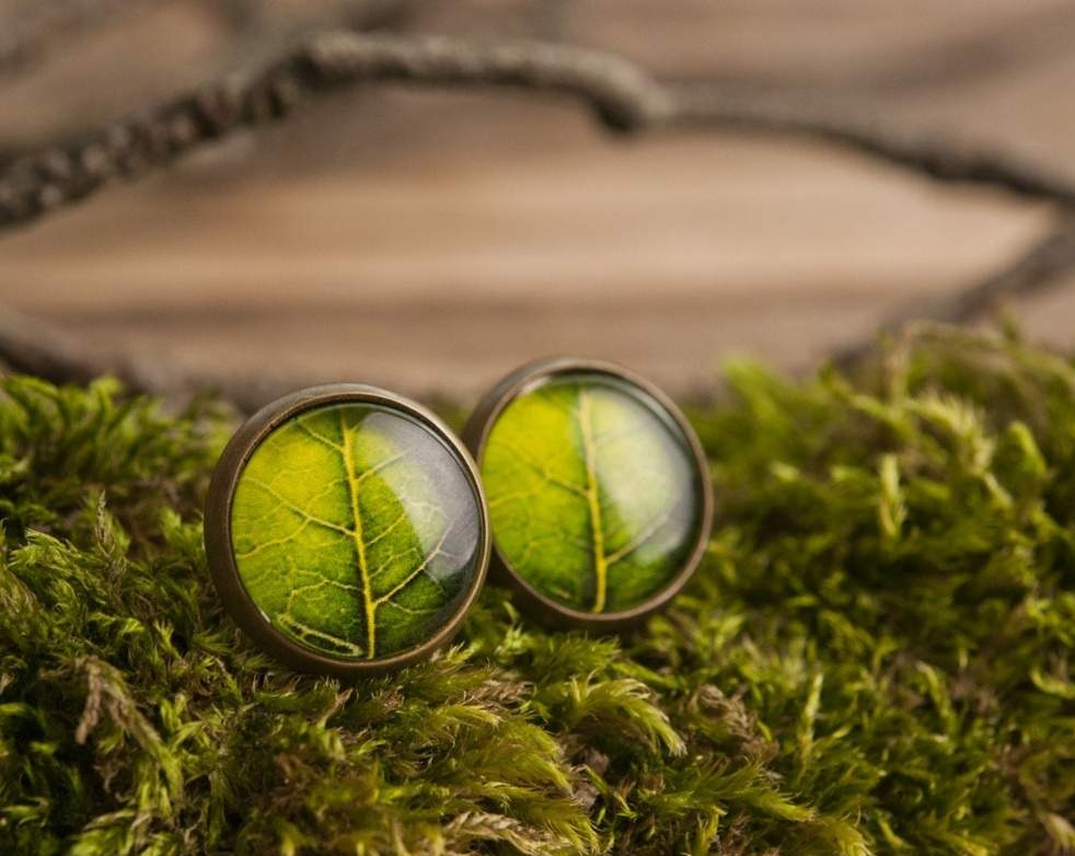 Leaf stud earrings, nature earrings, green earrings, post earrings, stud earrings, glass earrings, picture earrings, brass earrings