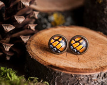Load image into Gallery viewer, Tiny monarch butterfly wing earrings, autumn earrings, autumn jewelry, monarch butterfly stud earrings,post earrings, stud earrings