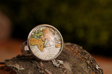 Load image into Gallery viewer, Vintage map ring, adjustable ring, statement ring, antique map ring, antique brass ring, glass ring, antique brass / silver plated ring