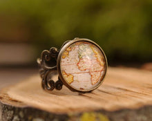 Load image into Gallery viewer, Filigree vintage map ring, adjustable ring, statement ring, antique brass ring, glass dome ring, antique bronze ring, jewelry gift for her