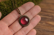 Load image into Gallery viewer, Tiny maroon necklace, antique brass necklace, glass dome pendant, antique brass pendant, glass dome necklace, maroon pendant, red necklace