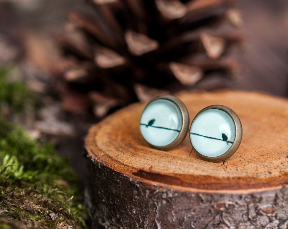 Tiny mint green earrings, bird on wire stud earrings, antique brass earrings, gun metal studs, post earrings, stud earrings, glass earrings