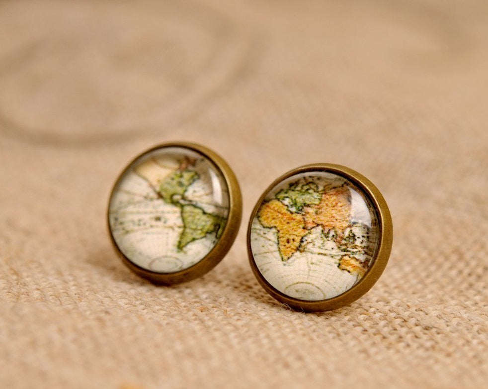 Vintage map earrings, stud earrings, antique brass earrings, post earrings, glass dome earrings, antique bronze / silver plated, old map