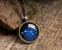 Load image into Gallery viewer, Ursa Major necklace, constellation necklace, stars necklace, night sky necklace, silver necklace, blue necklace, astronomical necklace