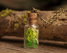 Load image into Gallery viewer, Fairy forest necklace, bridesmaid gift, terrarium jewelry, real moss necklace, nature necklace, green necklace, gift for bridesmaid