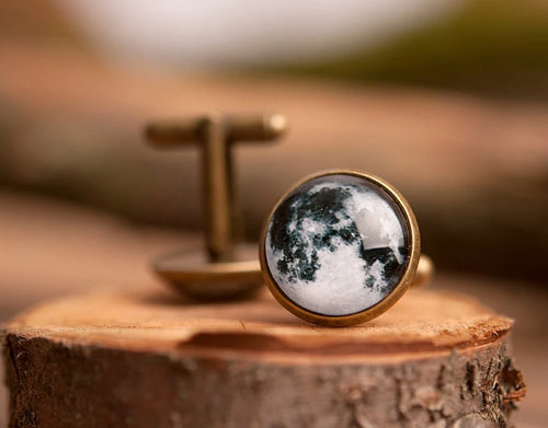 Full moon cufflinks, men cufflinks, antique brass cufflinks, glass dome cufflinks, glass cufflinks, men accessories, gift for men