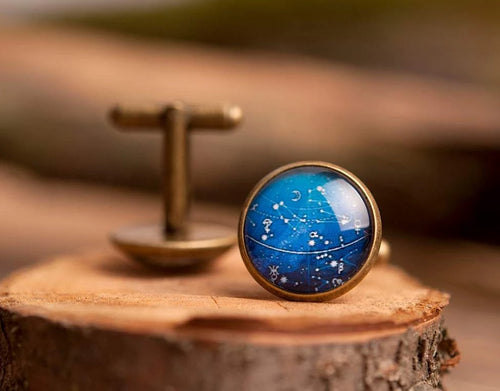 Constellation cufflinks, men cufflinks, antique brass cufflinks, glass dome cufflinks, glass cufflinks, men accessories, gift for me
